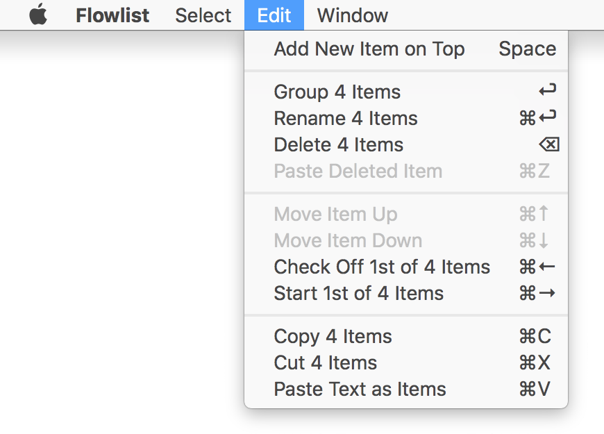 The menus show the available key commands for rapid list editing. task management, task, app, flow, todo list, flowlist, task list, omnifocus, wunderlist, todoist, focus, trello, agenda, agile, kanban, productivity, apple, mac, macos, ios, osx, self management, project management, organizer, getting things done, getting shit done, note taking, brainstorming, creative writing, hierarchical data