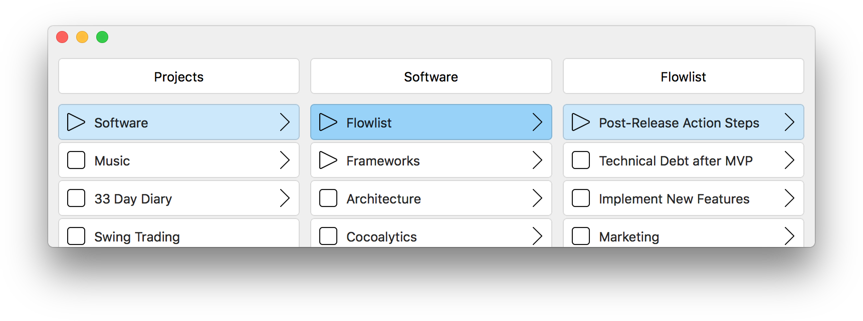 Hierarchical Items Can Express Many Levels of Detail. task management, task, app, flow, todo list, flowlist, task list, omnifocus, wunderlist, todoist, focus, trello, agenda, agile, kanban, productivity, apple, mac, macos, ios, osx, self management, project management, organizer, getting things done, getting shit done, note taking, brainstorming, creative writing, hierarchical data