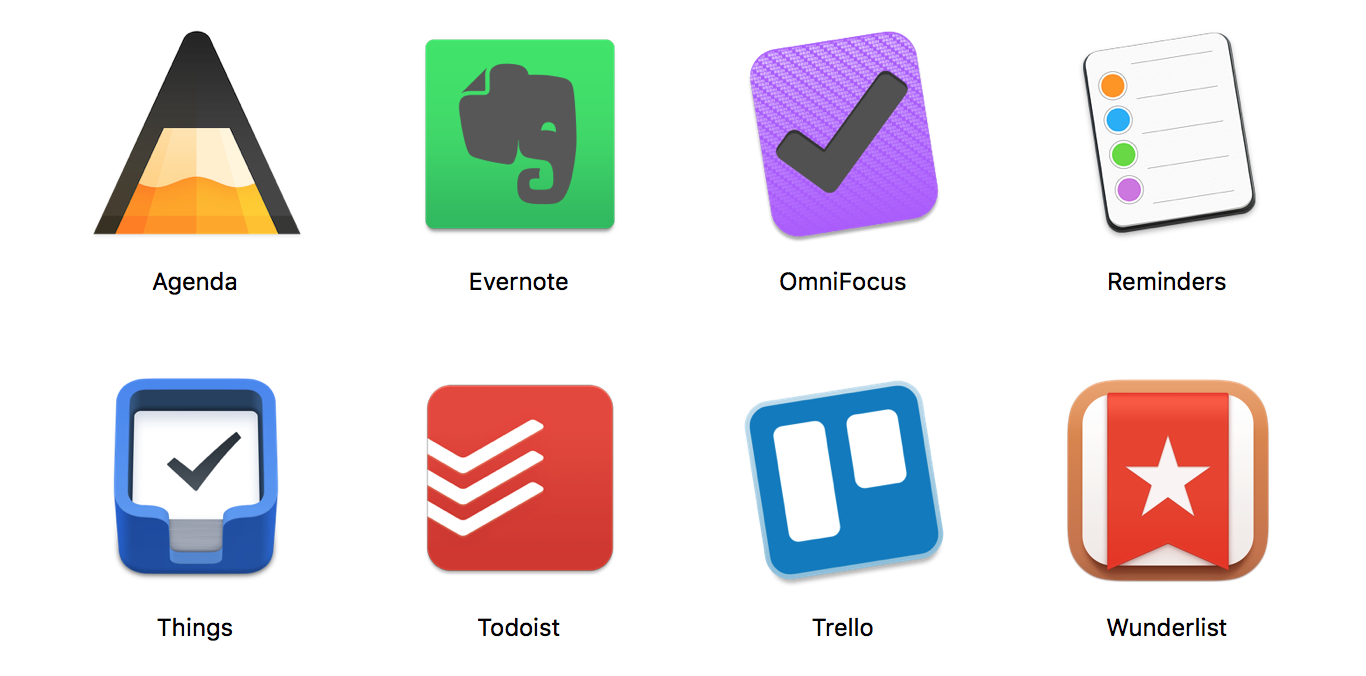 Task managers I tried: Agenda, Evernote, Omnifocus, Reminders, Things 3, Todoist, Trello, Wunderlist. task management, task, app, flow, todo list, flowlist, task list, omnifocus, wunderlist, todoist, focus, trello, agenda, agile, kanban, productivity, apple, mac, macos, ios, osx, self management, project management, organizer, getting things done, getting shit done, note taking, brainstorming, creative writing, hierarchical data